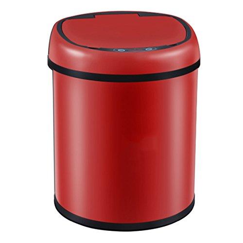WEN Smart Trash Auto Sensing Home Office Caricabatterie e Batteria in Acciaio Inossidabile con Rivestimento Creativo (Pacchetto da 6 l, 8 l, 12 l 1) (Colore : Red, Dimensioni : 12L)