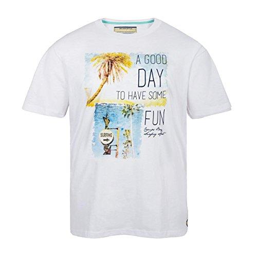 Redfield weißes T-Shirt mit Vintageprint Übergröße Weiß