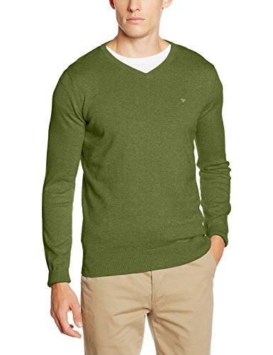 TOM TAILOR Herren Pullover Basic v-Neck Sweater, Grün (Lemongrass Green Melange 7820), XX-Large