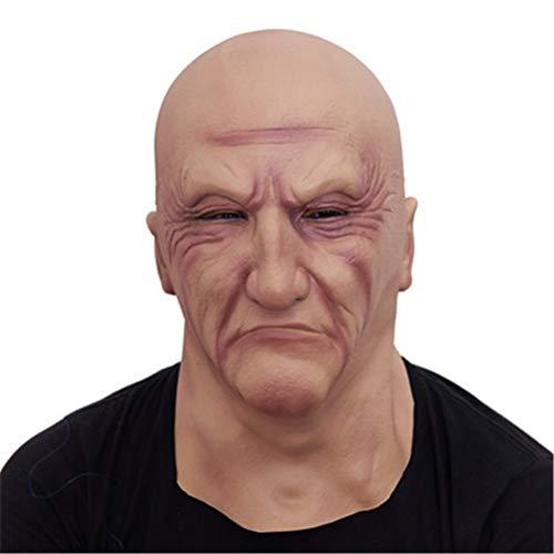 Jiahe Realistisch Latex Old Man Maske Male zertrümmert Halloween Fancy Dress Head Rubber Adult Party Masquerade Cosplay Props-Suital für die meisten Erwachsene