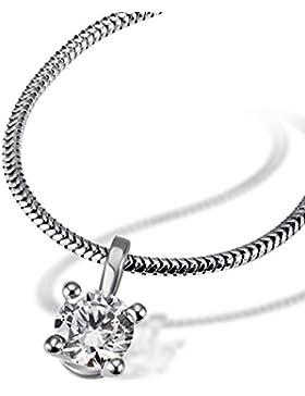 Goldmaid Damen-Kette mit Anhänger Solitär 4er Stotzen, inklusiv externer Expertise 750 Diamant (0.50 ct) weiß...