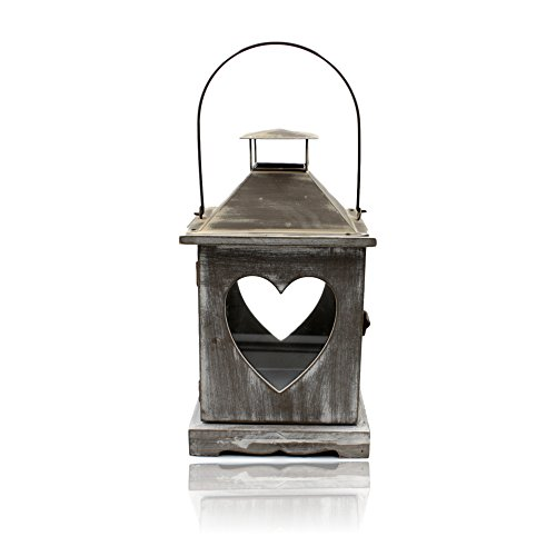 Hanging Pillar Candle Lantern Heart Windows Rustic Chic H34cm Kerze Hurricane Lantern