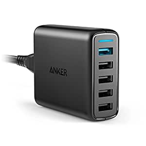 Anker PowerPort Speed 5 (51.5W) 5-Port USB Ladegerät, 1 Port mit Quick Charge 3.0 für Galaxy S7/S6/edge/edge+, Note 4/5, LG G4/G5, HTC One M8/M9/A9, Nexus 6, 4 Ports mit PowerIQ für iPhone, iPad usw.