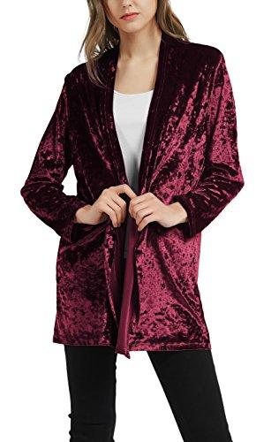 Urban GoCo Damen Samt-optik Kimono Jacke (weinrot, M)