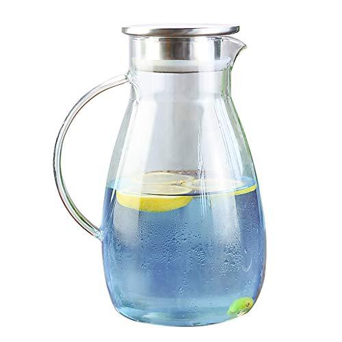 QPG Borosilikatglas-Krug mit Edelstahl-Infuser-Deckel, heißer/kalter Wasserkaraffe mit Griff, Home Kitchen Juice und Eistee-Getränkekrug (größe : 1600ml)