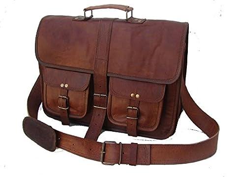 Lederne Beutel Weinlese-weicher lederner Kurier-Brown-Laptop-Schultaschen-Beutel-echter Aktenkoffer-bester Geschäfts-reisender echtes (Breite Werkzeugtasche)