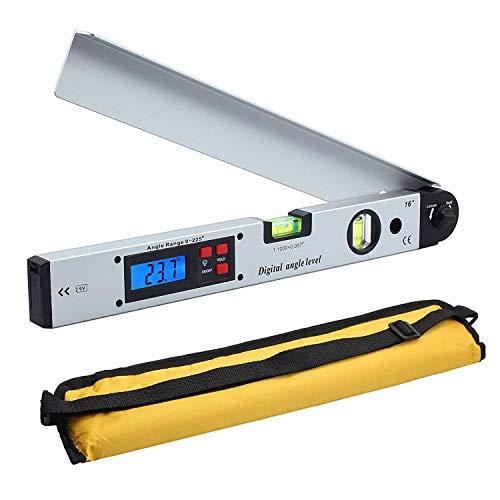 Loadfckcer Digitaler Winkelmesser 400mm / 16 Zoll Digital Winkelmesser mit LCD-Wasserwaage 0-225 °Digital Neigungsmesser Winkelmessgerät für vertikale horizontale Doppel-Wasserwaage