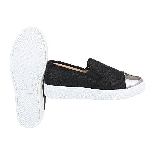 Sneakers Ital-design Basse Sneakers Da Donna Basse Scarpe Casual Moderne Nero Argento 086-y
