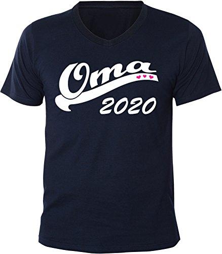 Mister Merchandise Herren Men V-Ausschnitt T-Shirt Oma 2020 Tee Shirt Neck bedruckt Navy
