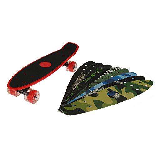 FunTomia Miniboard Cruiser Skateboard + 8X Griptape - mit 65mm Big Wheel LED Rollen