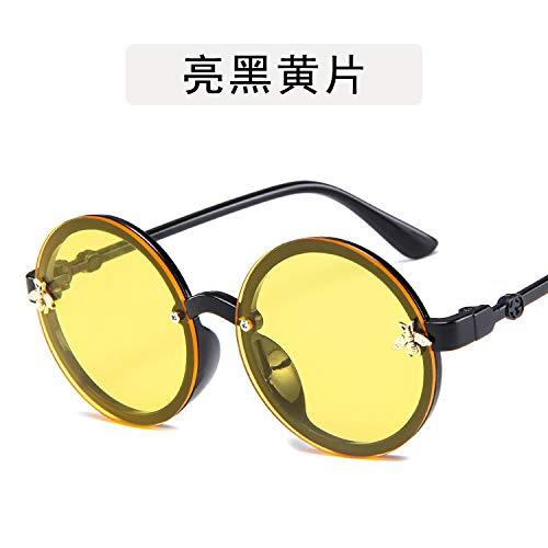 Yangjing-hl Runder Rahmen des bunten Glaskindersonnenbrille-Ozeanfilms des Babyrunden Rahmens netten schwarzen und gelben Film