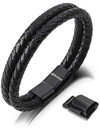 SERASAR | Premium Echtlederarmband für Männer in schwarz | Magnetverschluss aus Edelstahl in schwarz & Silber | Exklusive Schmuckschachtel | Geschenkidee zu Weihnachten
