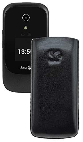 Suncase Original Tasche kompatibel mit Doro 7060 Leder Etui Handytasche Ledertasche Schutzhülle Case Hülle - Lasche mit Rückzugfunktion* In Schwarz