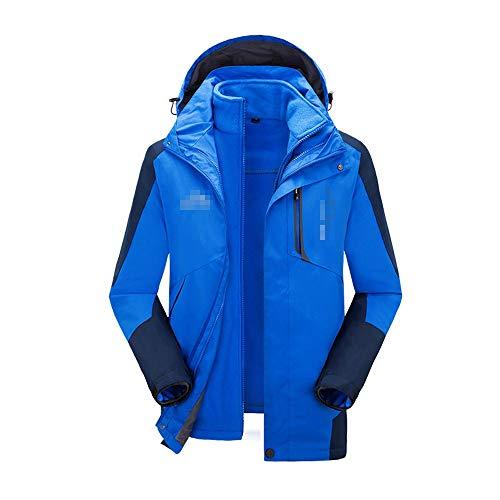 LOYFUN Skianzüge für Herren, Weiche warme Herren Winterjacke 3-in-1-Skijacke Windproof Hooded with Inner Warm Fleece Coat (Farbe : Blau, Größe : XXXL)