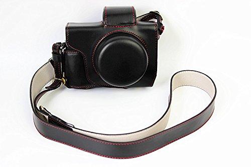 Voller Schutz Bodenöffnung Version Schutz-PU-Leder Kamera Tasche mit Stativ-Design-kompatibel für Olympus OM-D E-M10 Mark 2 EM10 Mark II mit 14-42mm F3.5-5.6 EZ-Objektiv mit Schulter-Ansatz-Bügel-Gurt-Schwarz