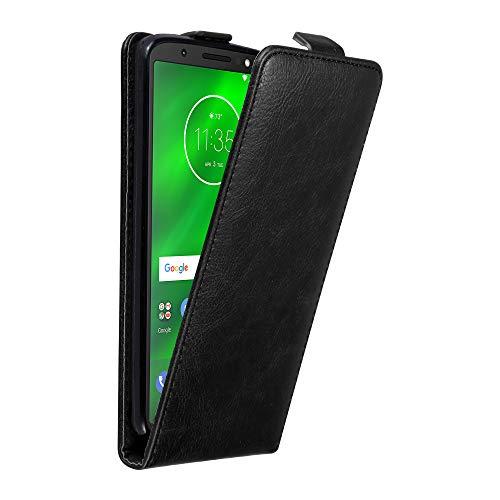 Cadorabo Hülle für Motorola Moto G6 Plus in Nacht SCHWARZ - Handyhülle im Flip Design mit Magnetverschluss - Case Cover Schutzhülle Etui Tasche Book Klapp Style