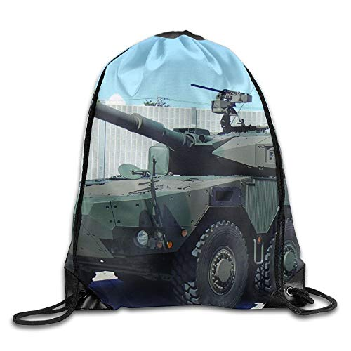 HLKPE Green and Brown Military Tanks Drawstring Bag for Traveling Or Shopping Casual Daypacks School Bags