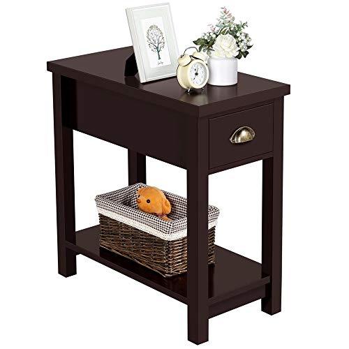 Yaheetech Vintage Beistelltisch Nachttisch Couchtisch Telefontisch mit Einer Schublade und Ablage LBH 60x30x61cm