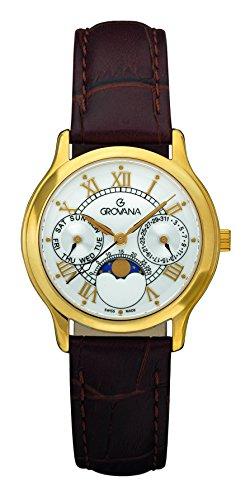 GROVANA 3025,1513 unisex reloj infantil de cuarzo con esfera analógica blanca y correa de piel color marrón 3025,1513