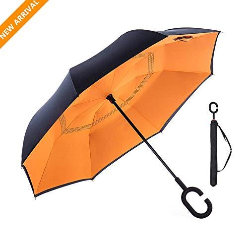 Paraguas Caballero Grande Clásico Antiviento,24 varillas Reforzadas, Mango de Cuero Recto Paraguas de Golf Grande SKY TEARS (Naranja)