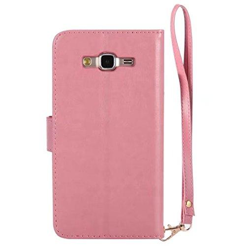 Horrizontal Folio Stand PU Ledertasche, Magnetverschluss Wallet Geldbörse Abdeckung Fall mit Lumious Shining Effekt & Lanyard für Samsung Galaxy J7 ( Color : Red ) Pink