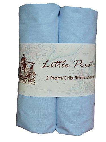 2 x (carrozzina/culla, Lenzuolo con angoli per cesta porte-enfant, in 100% percalle di cotone pettinato, blu, 40 x 90 cm