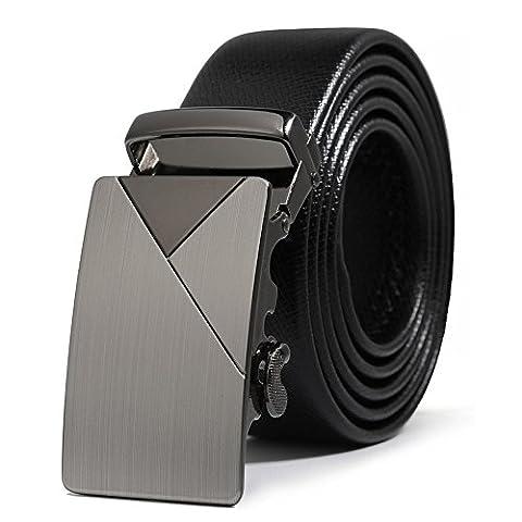 ITIEZY Men's Genuine Leather Belts Ratchet Belt with Automatic Buckle(Elegant Style)