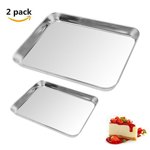 AckMond Stainless Steel Baking Sheet Bakeware Cookie Pan Tray Set Professional, Non Toxic & Healthy, High Quality & Heavy Duty, Non Stick & Easy Clean, Deep Edge, Set of 2, Dishwasher Safe