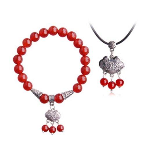 Ufingo Jewelry - Gioielli Natural Set Red Agate, 1pcs Serratura di longevità braccialetto in rilievo, 1pcs longevità blocco pendente
