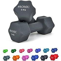 PROMIC Neopren Hanteln Gewichte für Gymnastik Kurzhanteln- ideal für Aerobic & leichtes Fitnesstraining, 13 verschiedene Gewichte und Farben zur Auswahl (2er-Set), 2 x 5 kg, Grau