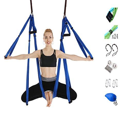 Tofern aerei multi-colore yoga swing kit volo yoga amaca seta fasciatura anti-gravita 'pilato trapezio inversione con daisy chain soffitto hook la borsa - in servizio dobbiamo essere pronti, blu reale