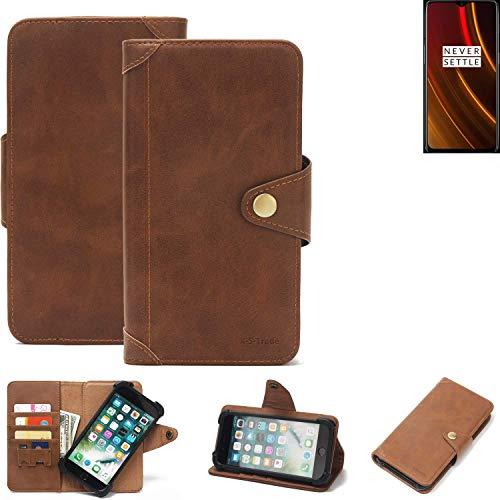 K-S-Trade Handy Hülle für OnePlus 6T McLaren Edition Schutzhülle Walletcase Bookstyle Tasche Handyhülle Schutz Case Handytasche Wallet Flipcase Cover PU Braun (1x)