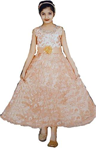 Sreca Self Design Party wear Peach Colour Maxi Shape Gown for Girl...