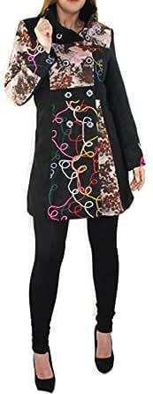 #947 Damen Mantel Jacke Patchwork Winter Trenchcoat Wintermantel Braun Beige Grün 36 38 40 42 44 46 (36, Braun)
