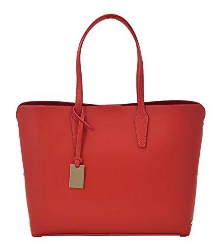 TAMARA Shopper Borse Donna Borse Tote Vera Pelle Made in Italy Lavorazione Artigianale Rosso