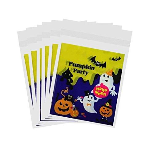 eutel Geschenkbeutel aus Kunststoff für Halloween Party, 10x11cm - Kürbis-Party ()