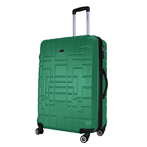 Shaik Serie XANO HKG Design Hartschalen Trolley, Koffer, Reisekoffer, in 3 Größen M/L / XL/Set 50/80/120 Liter, 4 Doppelrollen, TSA Schloss (Großer Koffer XL, Grün)