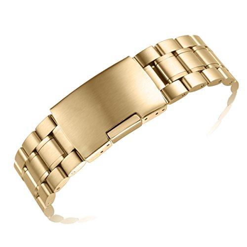 18 millimetri cinturini in metallo oro uomini con dritto finisce Oyster in acciaio solido stile (Rolex In Acciaio Inossidabile Oyster)