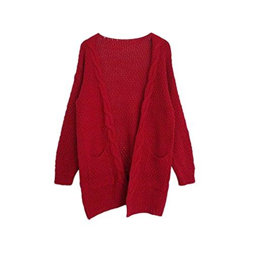 YOUJIA Damen Kabel Strickjacke Strickmantel Pullover Outwear Jacke Cardigan mit Taschen (Rot, CN L) (Kabel Strickjacke Pullover)