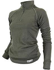 Raptor Hunting Solutions Mérinos Lingerie Thermique Dames Sous-vêtements Couche de Base Top Manches Longues Zip Col Chemise Vert