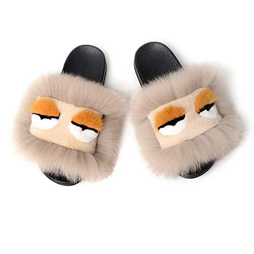 FODSRFFE Frauen Monster Pelz Hausschuhe Flauschigen Fuchshaar Sandalen Plüsch Weiche Flache Haus Flip Flops Schuhe U 5 - Frauen Erde-schuh-sandalen