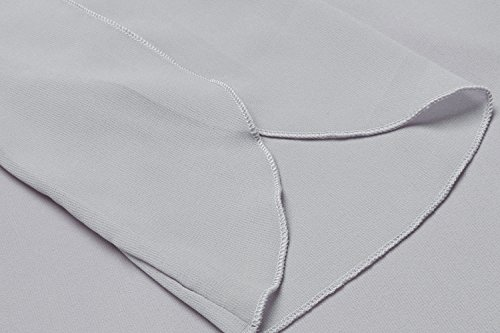 Beyove Damen Chiffonkleid Cocktailkleid Blusekleid Festliches Kleid Loose A-Linie Knielang 3/4 Ärmel mit Gürtel Hellgrau