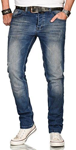 Alessandro Salvarini A. Salvarini Designer Herren Jeans Hose Regular Slim Fit Style Jeanshose Stretch[AS-081 - W36 L34]