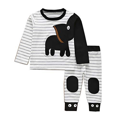 2PC Conjuntos Elefante Pijamas Recién Nacido de Raya Unisex,0-18 Meses