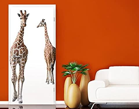 Door Wall Mural Two Giraffes, Größe:221cm x