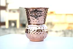 IndianCartVilla Pure Copper Hammered Mathat Dholak Glass 400 ML