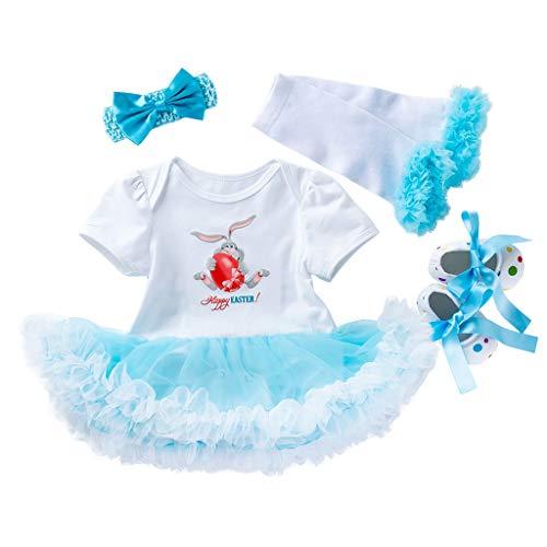 Ostern Baby Kleidung Set Baby Kleidung Set Baby Kleidung Set Heligen 4 STÜCKE Neugeborenes Baby Prinzessin Ostereier Brief Drucken Tutu Kleid Outfits ()