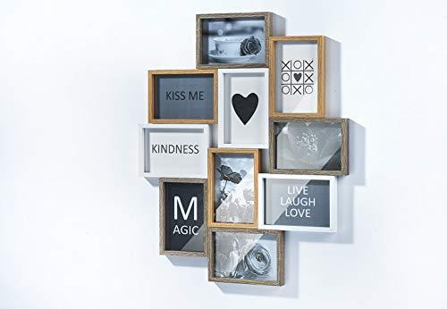 Kobolo Bilderrahmen Bilderhalter Collage Heart für bis zu 10 Bilder