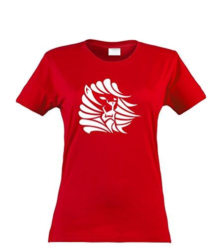 (Klamottenkiste24 Damen T-Shirt, Tribal Löwe, Rot, Gr. L)