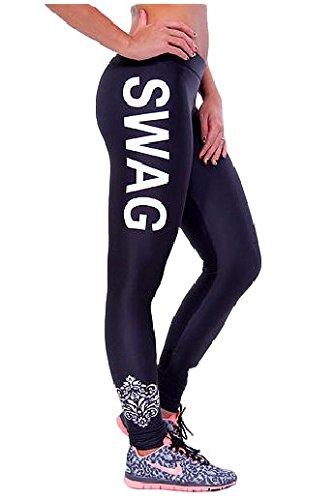GGTBOUTIQUE - Legging de sport - Femme Multicolore Bigarré Multicolore - white print
